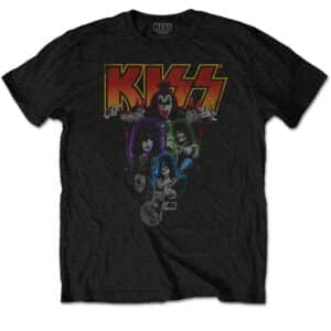 KISS neon band svart t-skjorte til herre KISSTS06MB