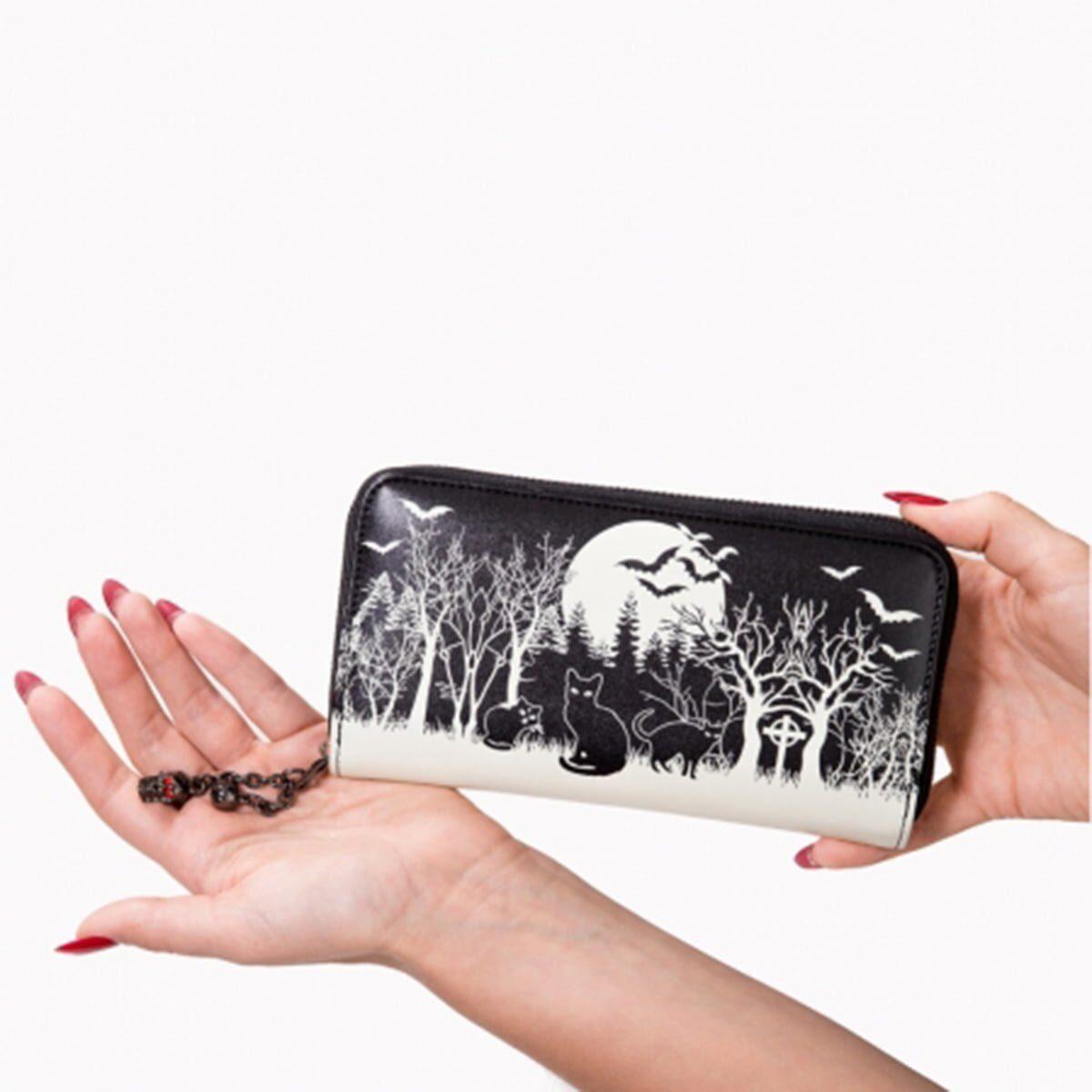 woodland wallet lommebok med katt og flaggermus motiv WT1479