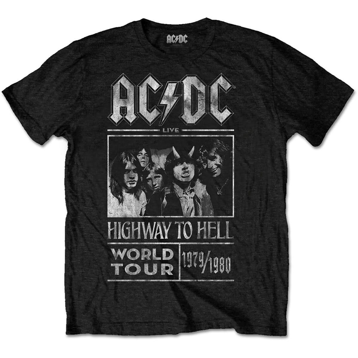 ac dc highway to hell world tour 1979 1980 svart t-skjorte til herre ACDCTTRTW01MB