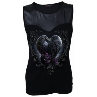 raven heart svart wetlook topp D085G042