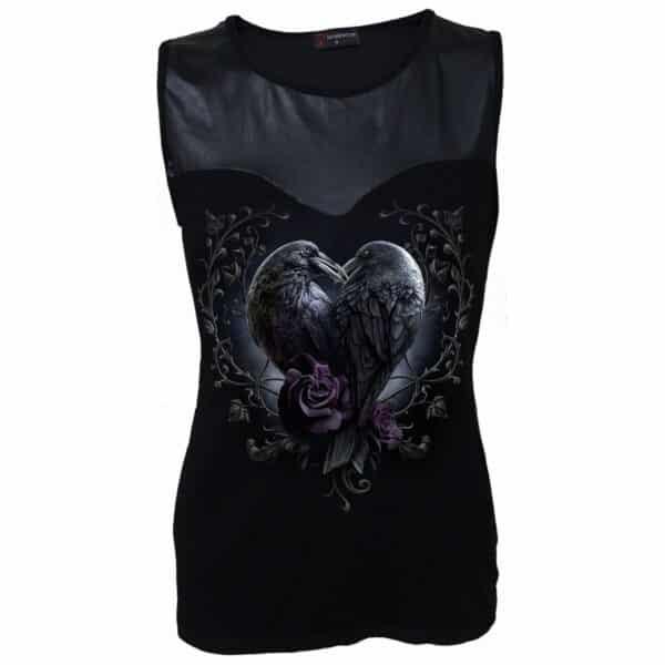 raven heart svart wetlook topp D085G042