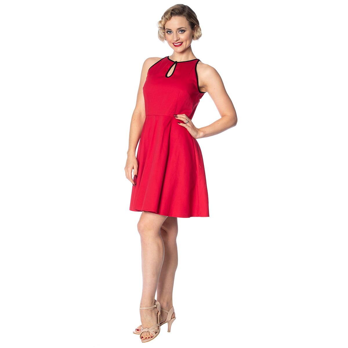 rockin red rød kjole med nøkkelhull DR16003