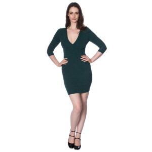 green with envy grønn glitterkjole med v-hals DR5667