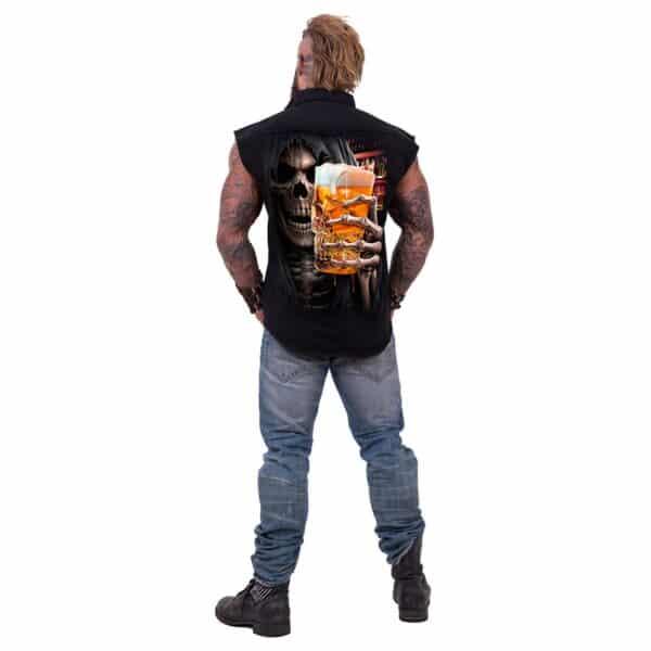 live loud svart ermeløs steinvasket skjorte T177M602