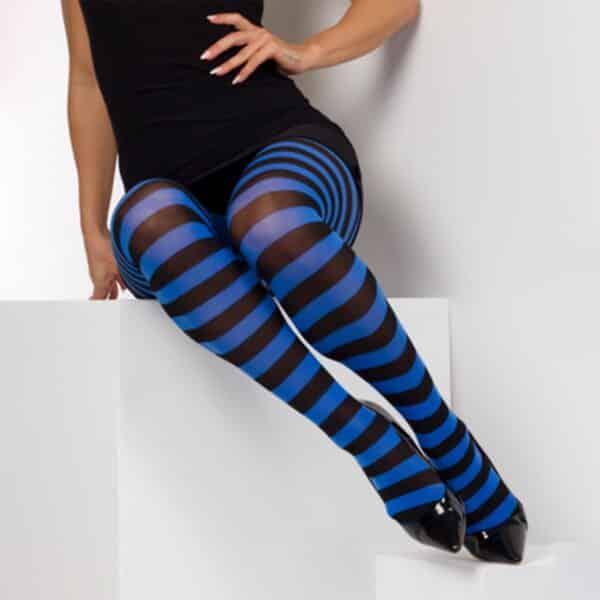 twickers blå og svart stripete strømpebukser TS6500