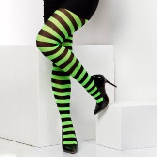 twickers grønn og svart stripete strømpebukser TS6501