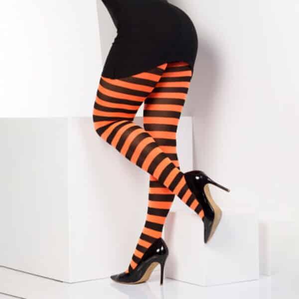 twickers oransje og svart stripete strømpebukser TS6502