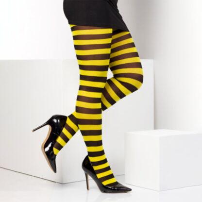 twickers gul og svart stripete strømpebukser TS6507
