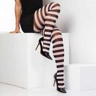 twickers hvit og svart stripete strømpebukser TS6510