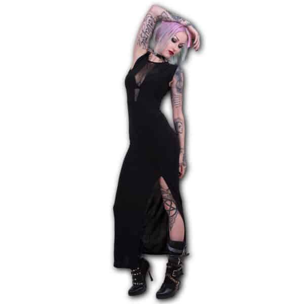 gothic elegance maxi kjole med dyp v utringning P001F122