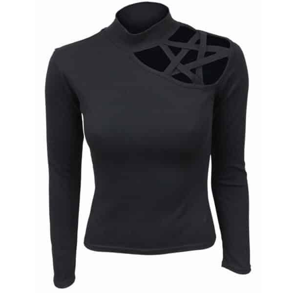 gothic elegance svart dametopp med pentagram P001F477