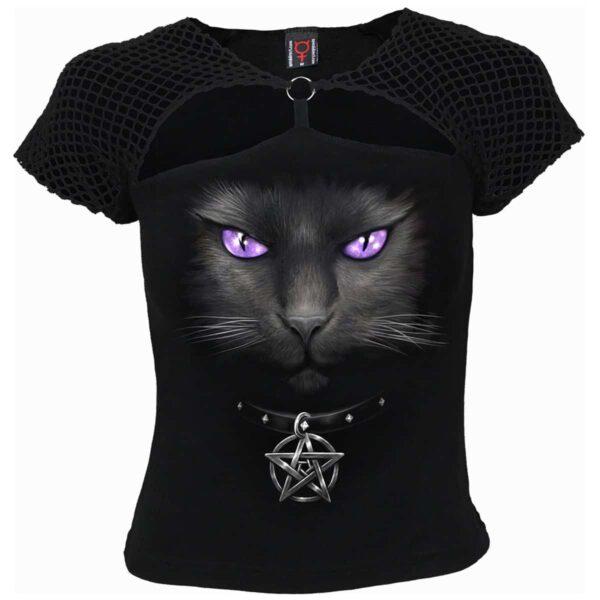 black cat todelt topp med netting D008F709