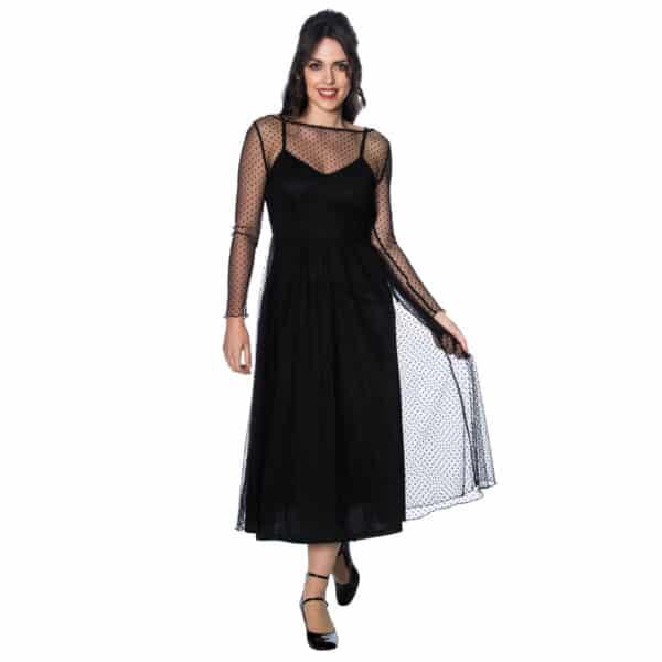talia svart tolags kjole DR5532