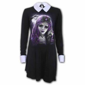 goth doll svart kjole med peter pan krage K058F134