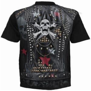 goth metal svart t-skjorte med heltrykk W034M105