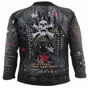 goth metal heltrykket tynn genser til herre W034M304