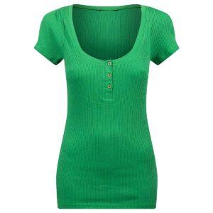 grønn utringet topp til dame med knapper 55846GRN