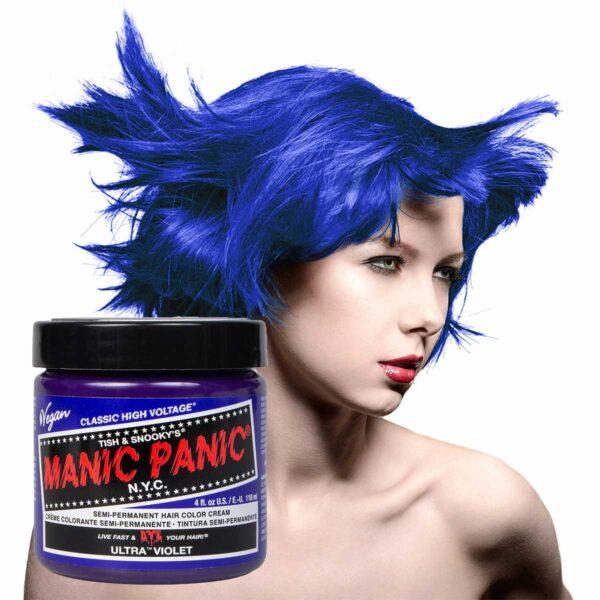 manic panic classic high voltage blå hårfarge 118ml ultra violet model pot 70435