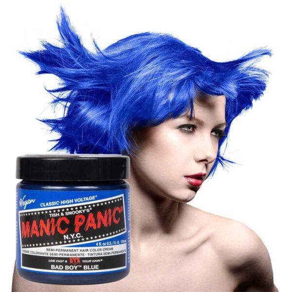 manic panic classic high voltage blå hårfarge 118ml bad boy blue model pot 62934