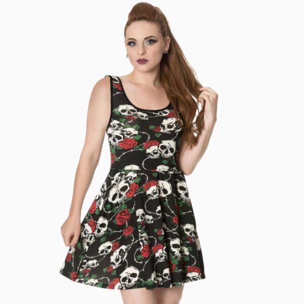 jersey kjole med god strech skull roses DR5139